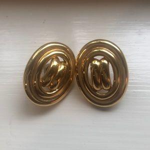 "Goldtone post earrings 1"" long"